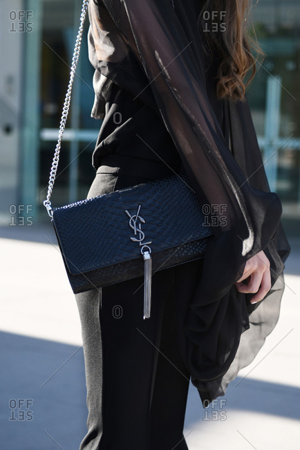March 08, 2018- Melbourne, Australia: Stylish Woman Wears Saint Laurent Bag at Virgin Australia Melbourne Fashion Festival, Vertical