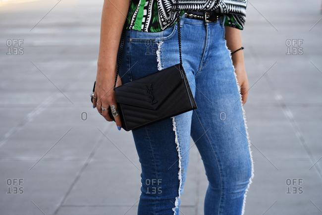 March 08, 2018- Melbourne, Australia: Guest Wears Saint Laurent Bag at Virgin Australia Melbourne Fashion Festival, Horizontal