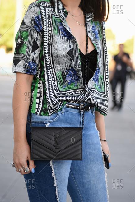 March 08, 2018- Melbourne, Australia: Guest Wears Saint Laurent Bag at Virgin Australia Melbourne Fashion Festival, Vertical
