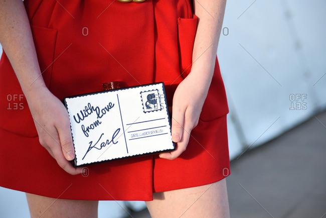March 08, 2018- Melbourne, Australia: Close up of Karl Lagerfeld Box Clutch at Virgin Australia Melbourne Fashion Festival, Horizontal