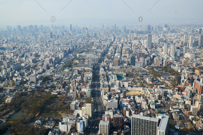 Abenosuji, Abeno Ward, Osaka, Japan- April 3, 2017: View of Osaka city from the Abeno Harukas Tower