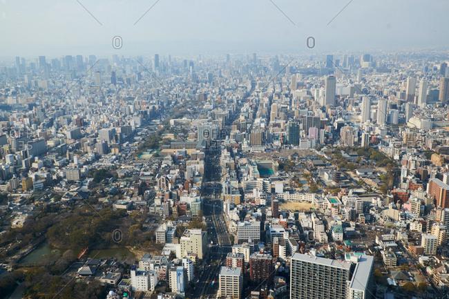 Abenosuji, Abeno Ward, Osaka, Japan- April 3, 2017: View of Osaka city from the Abeno Harukas Tower