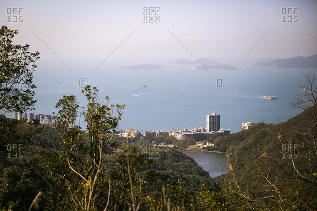 Overlook of a bay in Hong Kong