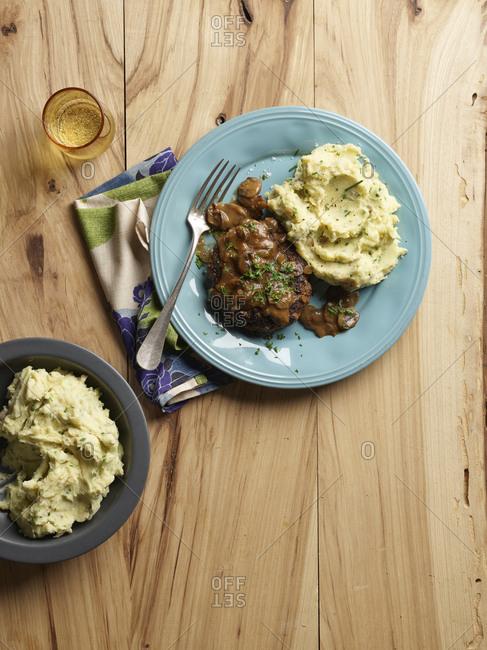 Salisbury steak with creamy mashed potatoes