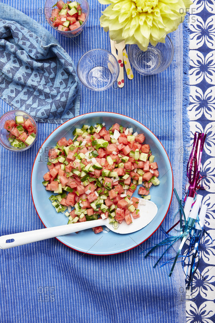Summer watermelon and cucumber salad