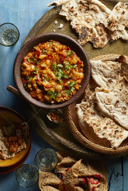 Vegetable dip with pita bread