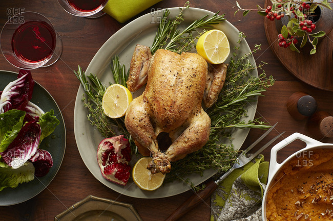 Roasted chicken for Thanksgiving dinner