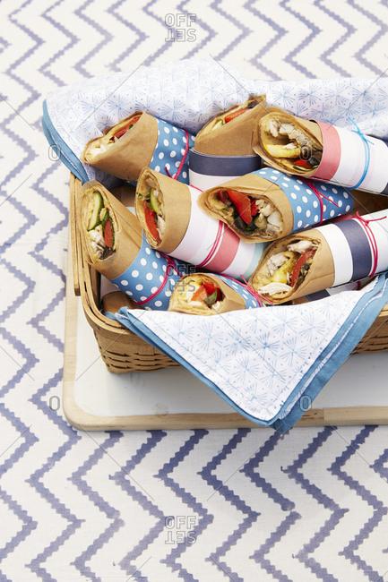 Fourth of July sandwich wraps