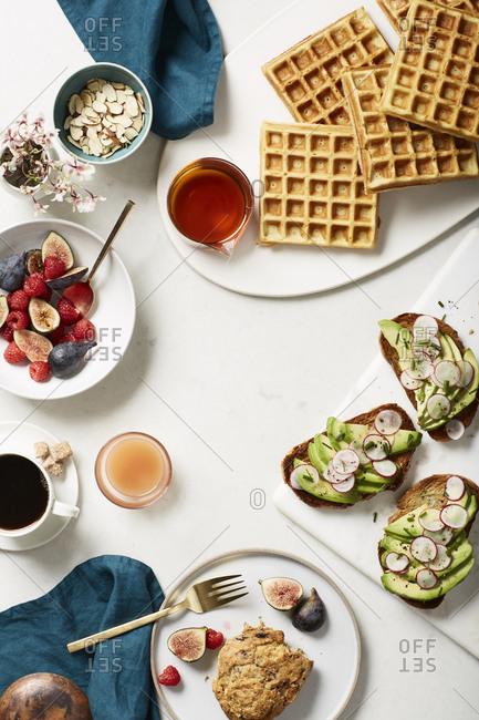 Overhead view of a breakfast spread