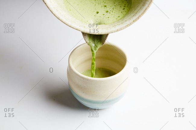 Matcha drink being poured