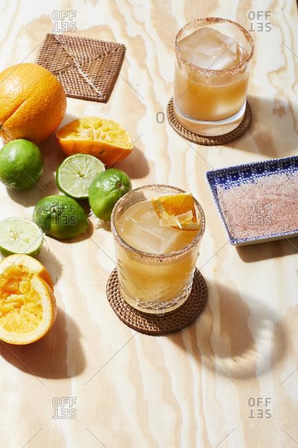 Paloma cocktails with pink salt rim