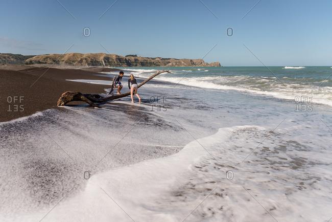 Kids climbing on driftwood on a beach in New Zealand