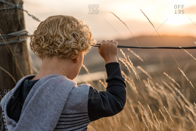 Little boy looking out at sunset from Hawke's Bay, New Zealand