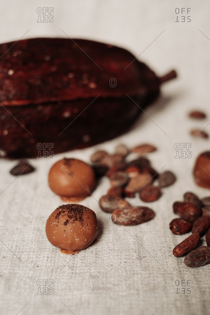 Close up of chocolate pralines and nuts