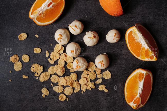 Overhead view of orange and white chocolate pralines