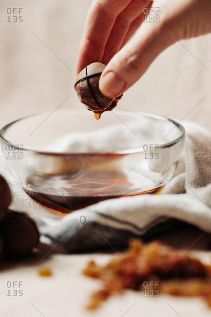 Baker preparing chocolate pralines