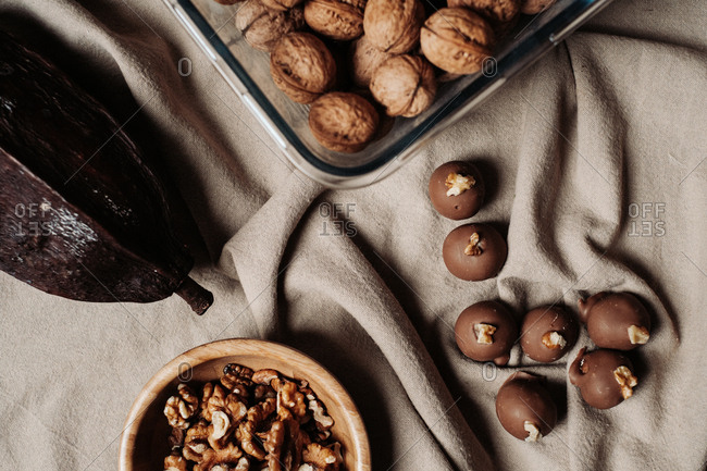 Chocolate walnut pralines