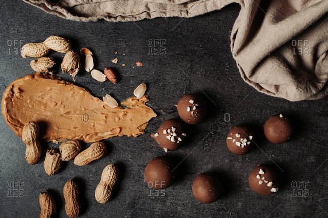 Chocolate peanut butter pralines