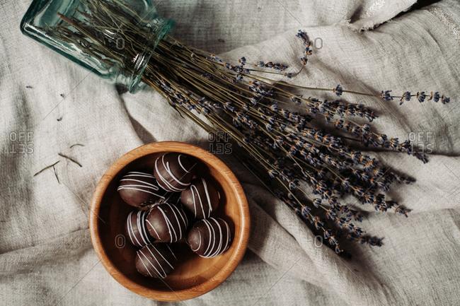 Dark chocolate lavender pralines