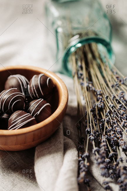 Close up of dark chocolate lavender pralines