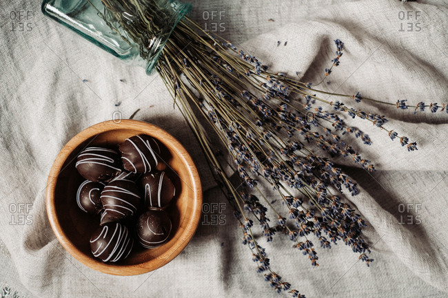 Overhead view of dark chocolate lavender pralines