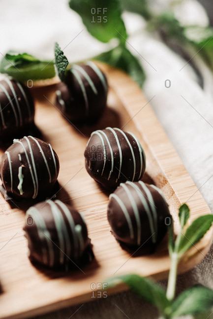 Close up of dark chocolate mint pralines