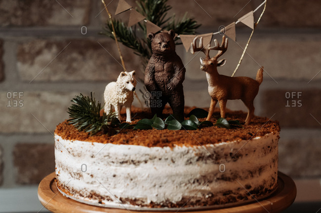 Birthday carrot cake with wild animals on top