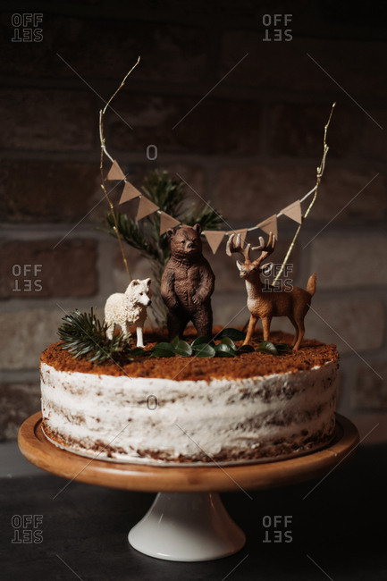 Rustic birthday carrot cake with wild animals on top