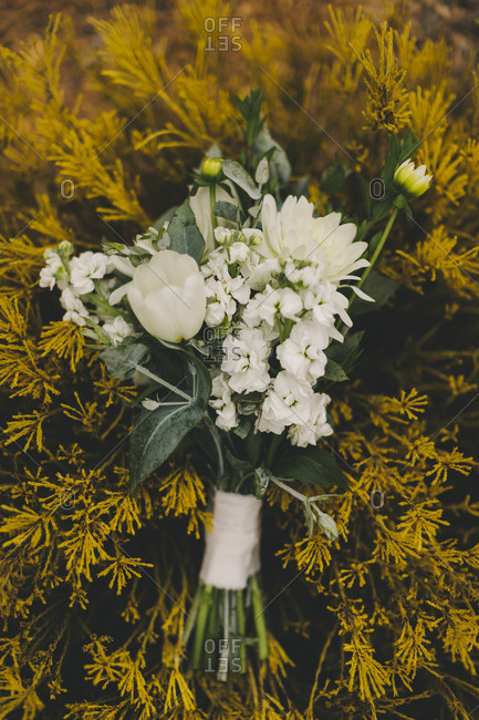 White floral bouquet placed on yellow bush
