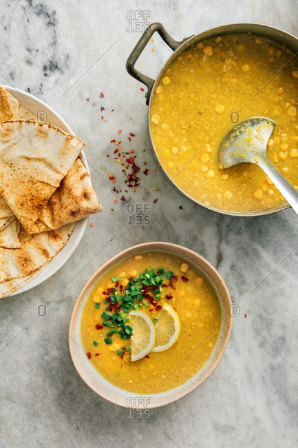 Red lentil and corn soup