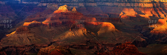Panorama, Grand Canyon at sunset, viewpoint Mather Point, South Rim, Grand Canyon, near Tusayan, Arizona, USA, North America