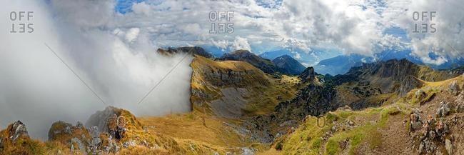 Hochiss Panorama with Spieljoch demolition edge in fog, Adlerhorst and Dalfalzer Walls, Rofan Mountains, Achensee, Tyrol, Austria, Europe