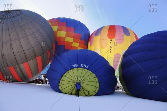 Hot air balloon Festival on Mount Hochstuckli, Schwyz, Switzerland, Europe