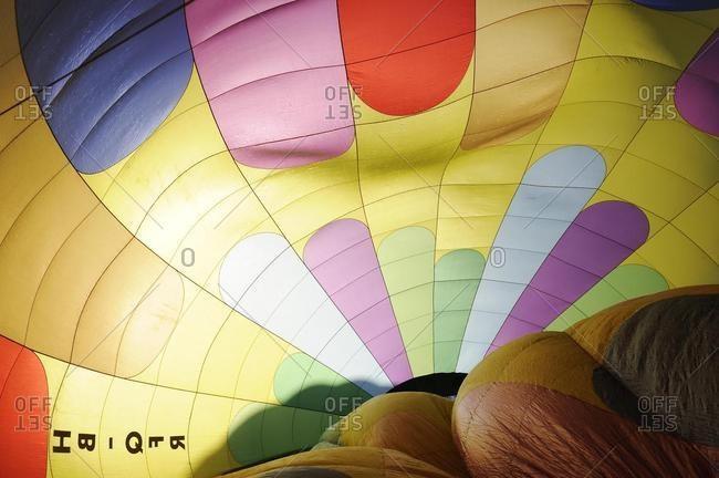 Hot air balloon interior, Ballon Festival on Mount Hochstuckli, Schwyz, Switzerland, Europe