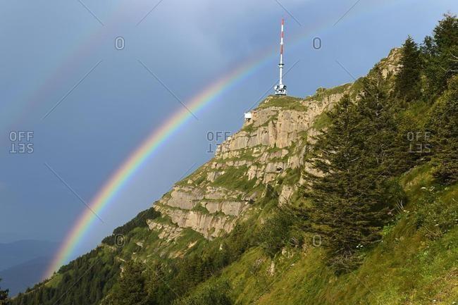 Transmission tower of Rigikulm with a rainbow, Rigi, Central Switzerland, Switzerland, Europe