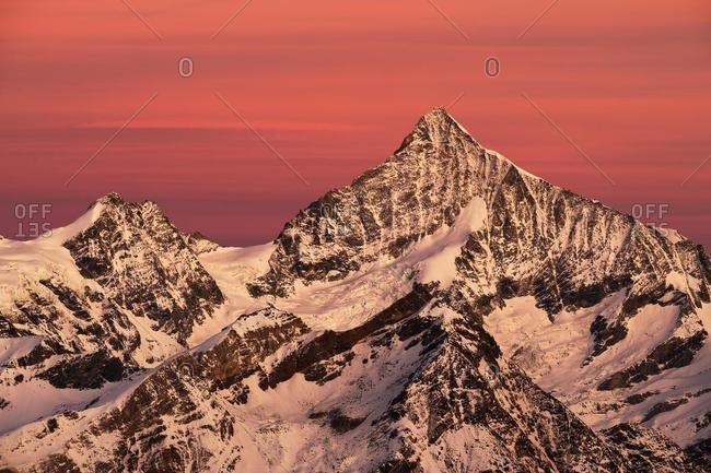 Dent Blanche, snowy mountain at dawn, Gornergrat, Zermatt, Valais Canton, Switzerland, Europe