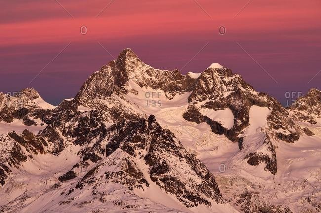 Snow-capped Ober Gabelhorn and Wellenkuppe at dawn, Pennine Alps, Gornergrat, Zermatt, Valais, Switzerland, Europe