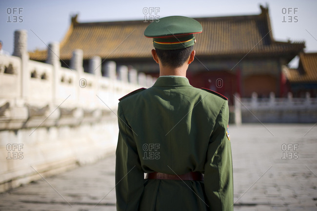 Uniformed police officer outside a sightseeing attraction.