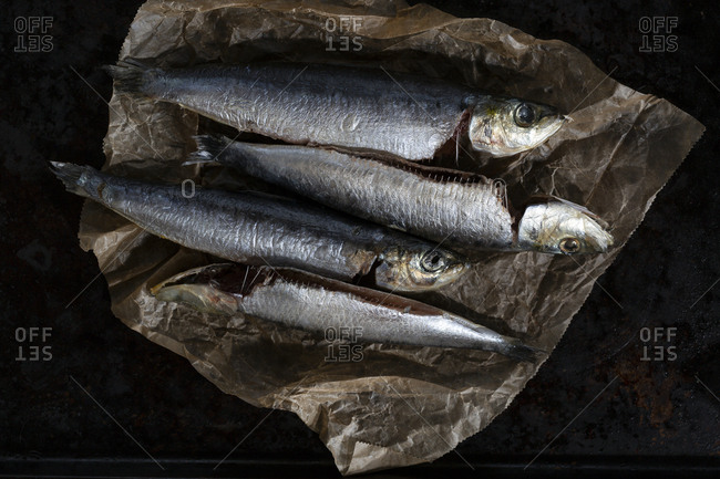 Four fish in brown paper