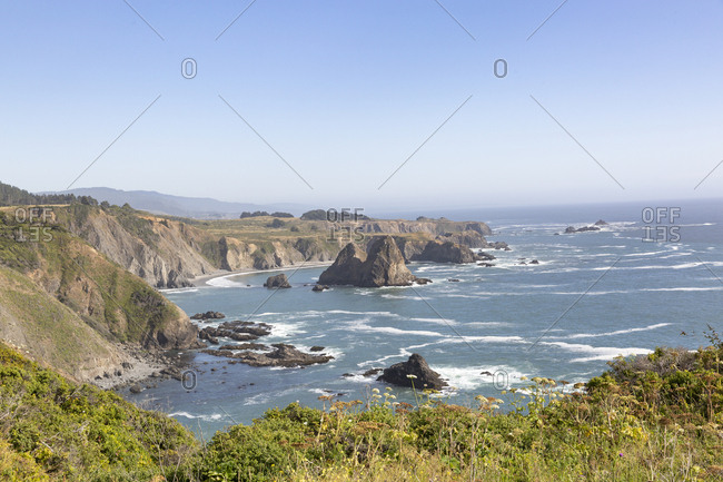 Beautiful view of coastline with large rock formations