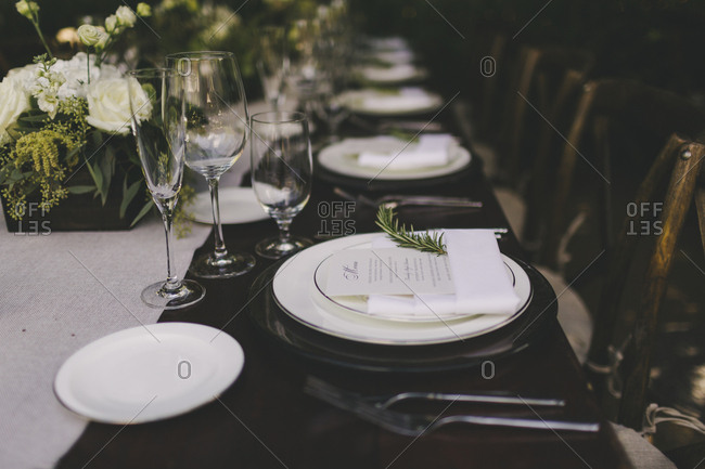 Set table at an outdoor wedding