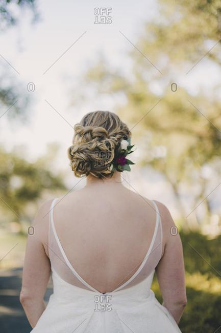 Blonde bride looking away