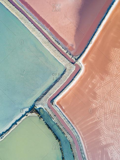 Colorful salt ponds in Spain