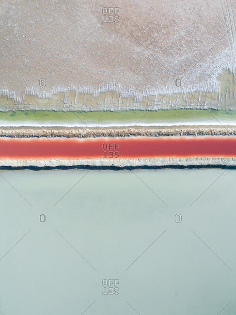 Aerial view of colorful salt ponds in Spain