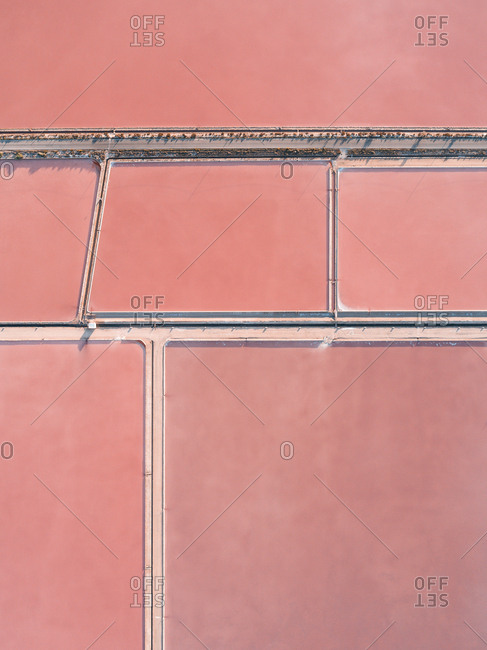 Aerial view of pink salt ponds in Spain