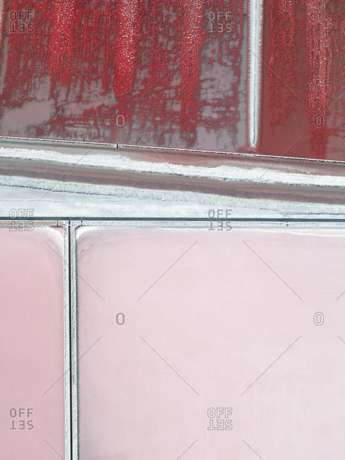 Pink and red salt ponds in Spain