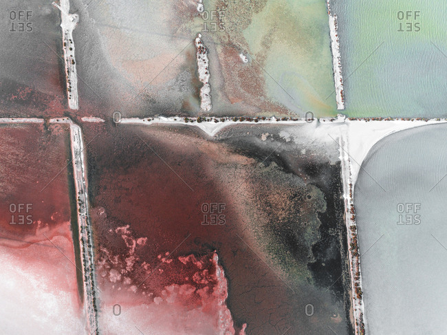 Salt ponds in Spain from above