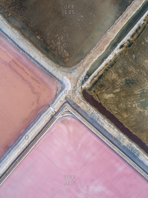Abstract view of salt ponds in Spain from above