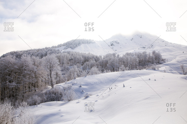 Snowy winter landscape on Visocica Mountain