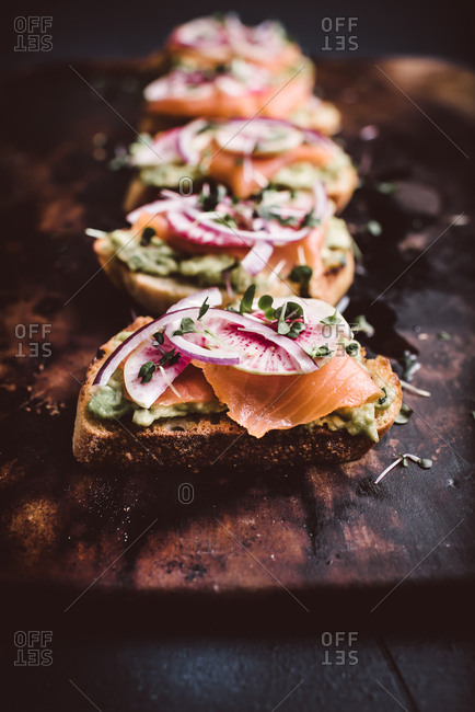 Close up of avocado toast with salmon